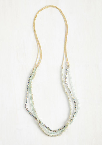 Strand Your Ground Necklace - Green, Casual, Daytime Party, Boho, Gold, Gold, Top Rated