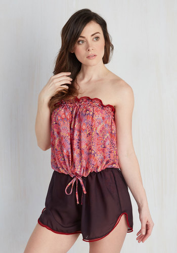 Sun and Sand Wonderland Cover-Up Romper in Hibiscus by High Dive by ModCloth - Pink, Black, Multi, Print, Trim, Beach/Resort, Strapless, Summer