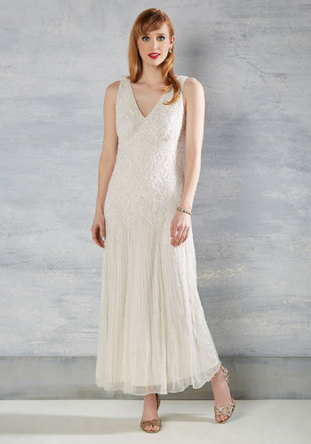 To Have and to Haute Maxi Dress in Ivory - Solid, Beads, Special Occasion, Vintage Inspired, 20s, A-line, Sleeveless, Woven, Lace, Best, Maxi, Cream, Long, Prom, Lace, Bride