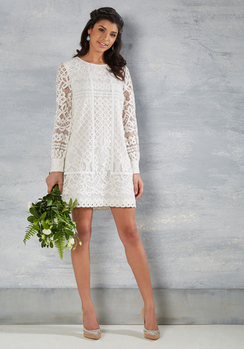 Vow Do You Do? Lace Dress in White - White, Solid, Crochet, Boho, Vintage Inspired, 70s, Shift, Tent / Trapeze, Long Sleeve, Spring, Woven, Best, Crew, Mid-length, Exclusives, Special Occasion, Graduation, Prom, 60s, Summer, Homecoming, Mod, Lace, Lace, Bride