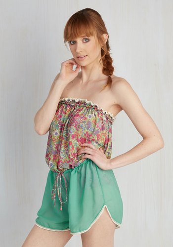 Sun and Sand Wonderland Cover-Up Romper in Garden by High Dive by ModCloth - Mint, Multi, Floral, Beach/Resort, Strapless, Summer, Spring