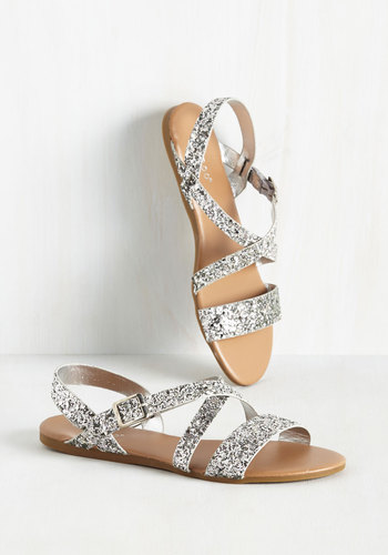 Strut, Look, and Glisten Sandal in Silver
