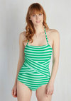 Down for a Dip One-Piece Swimsuit in Peacock