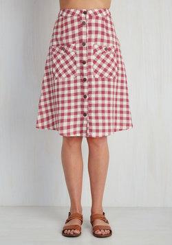 Swap Meet Sweetheart Skirt in Berry Gingham