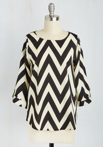 Zoom Bisou Top in Black Chevron - White, Buttons, Black, 3/4 Sleeve, Sheer, Boat, Chevron, Best Seller, 3/4 Sleeve, Black, White, Maternity, Mid-length, Good, 4th of July Sale, Top Rated, Colorsplash, Best Seller