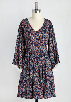 Through the Bluebells Dress in Navy Paisley