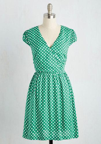 Let It Roller Skate Dress in Green