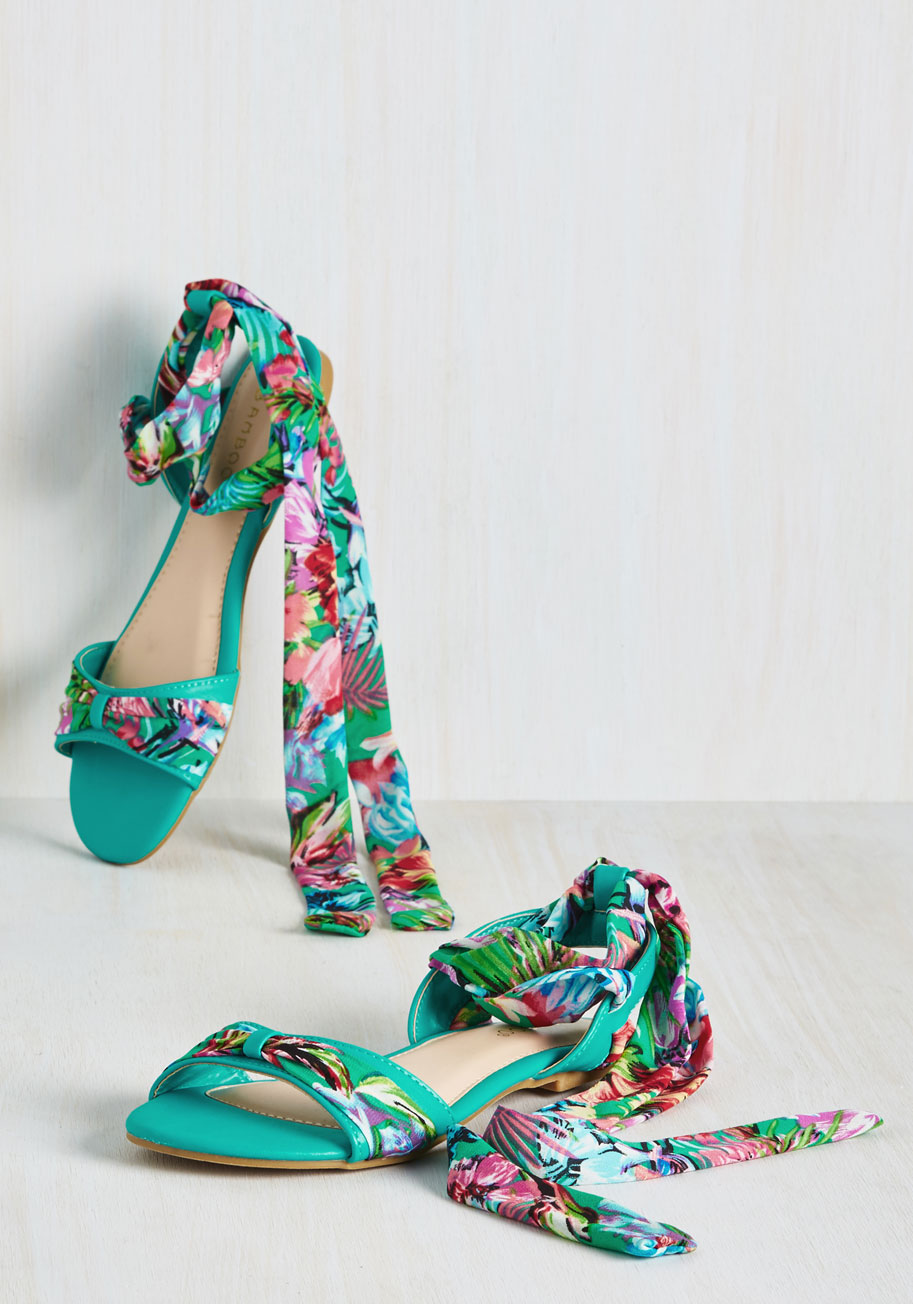 Cute tropical sandals with chiffon wrap detailing