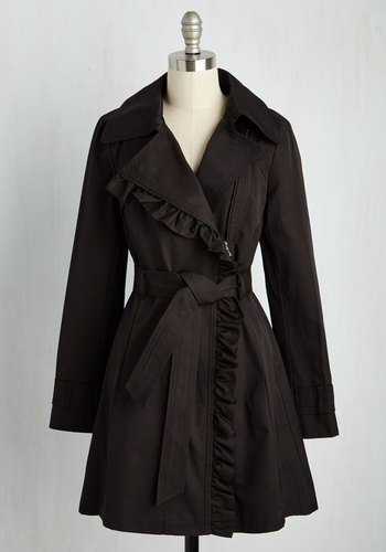 Metropolitan Miss Coat in Noir - Black, Solid, Ruffles, Belted, Long Sleeve, Pockets, Top Rated, Long, 2, Spring, Work, Casual