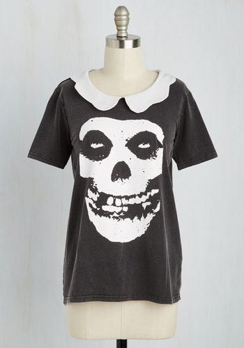 Ecstatic Age Top - Black, White, Novelty Print, Casual, Skulls, Short Sleeves, Better, Collared, Black, Short Sleeve, Mid-length, Cotton, Knit, Music, Halloween