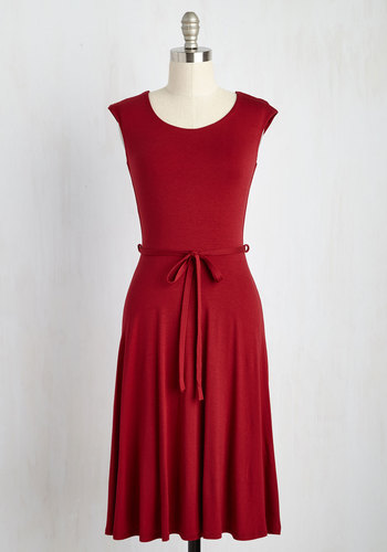 Easygoing My Own Way Dress - Red, Solid, Belted, Casual, A-line, Cap Sleeves, Knit, Good, Scoop, Mid-length, Valentine's, Colorsplash