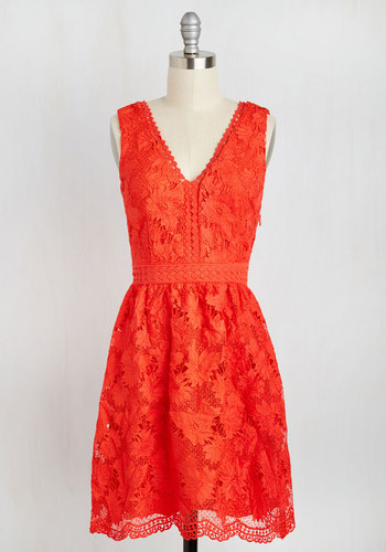When I Groove, You Groove Lace Dress in Vermillion - Orange, Solid, Daytime Party, Graduation, Spring, Lace, Better, V Neck, Sleeveless, Crochet, Short, Boho, Wedding Guest, Wedding, Summer, Fit & Flare, Woven, Sundress, Girls Night Out, Party, Homecoming, Lace
