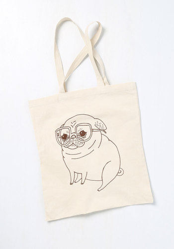 Wisdom by Winston Tote - Cream, Red, Print with Animals, Casual, Eco-Friendly, Exclusives, Work, Press Placement, Spring, Best Seller, Critters, Dog, Under $20, Top Rated, Travel