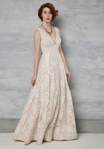 Right Here, Right Wow Maxi Dress in Ivory - Tan / Cream, Solid, Special Occasion, Maxi, Sleeveless, Summer, Lace, Exceptional, V Neck, Long, Tan, Ivory, Graduation, Prom, White, Lace, Bride