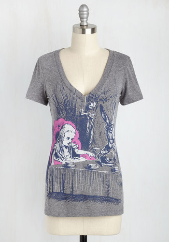 Novel Tee in Alice by Out of Print - Grey, Casual, Short Sleeves, V Neck, Mid-length, Novelty Print, Print with Animals, Critters, Good, Grey, Short Sleeve, Best Seller, 4th of July Sale, As You Wish Sale, Top Rated, Lounge, Quirky, Nifty Nerd