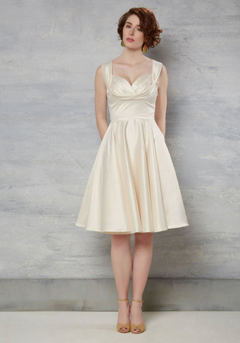 Aisle Be There Dress in Ivory by Trashy Diva - Special Occasion, Wedding, Pinup, Vintage Inspired, 40s, 50s, Solid, Pockets, Tank top (2 thick straps), White, Prom, Fit & Flare, Long, Full-Size Run, Bride, Party
