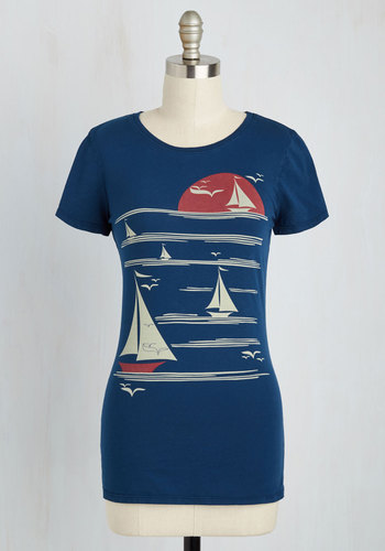 All's Fair in Love and Wharf Tee by Blue Platypus - Mid-length, Cotton, Knit, Blue, Novelty Print, Casual, Nautical, Eco-Friendly, Short Sleeves, Crew