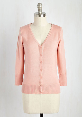 Charter School Cardigan in Rose - Pink, Solid, Work, Casual, 3/4 Sleeve, Pastel, Scholastic/Collegiate, Best Seller, Button Down, Minimal, V Neck, Variation, Spring, Pinup, Daytime Party, Basic, Pink, 3/4 Sleeve, Valentine's, Wedding, Social Placements, Knit, Good, 4th of July Sale, As You Wish Sale, Top Rated, Mid-length