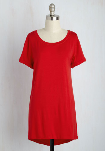 Simplicity on a Saturday Tunic in Red - Jersey, Long, Red, Solid, Casual, Short Sleeves, Minimal, Crew, Variation, Travel, Basic, Short Sleeve, Best Seller, Maternity, Red, Top Rated, Lounge