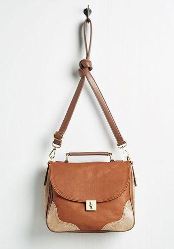 Briefcase Encounter Bag - Brown, Tan / Cream, Solid, Faux Leather, Work, Scholastic/Collegiate