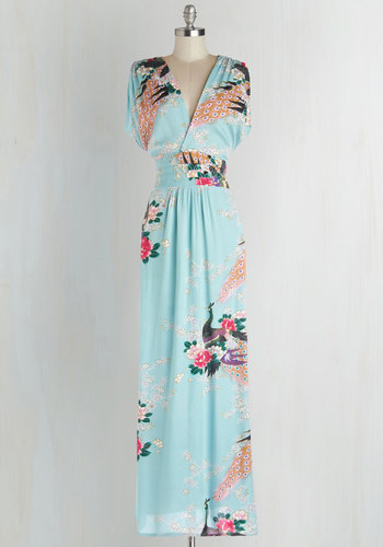 Feeling Serene Dress in Dawn - Multi, Print with Animals, Casual, Maxi, Sleeveless, Better, V Neck, Long, Woven, Blue, Vintage Inspired