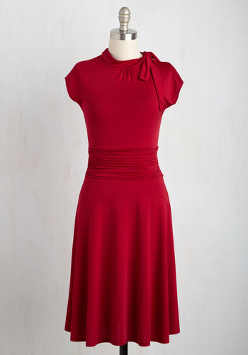 Dance Floor Date Dress in Scarlet - Red, Solid, A-line, Ruching, Short Sleeves, Best Seller, Work, Knit, Valentine's, Full-Size Run, Bows, Long, Better, Colorsplash, Nautical, Vintage Inspired, 40s, Americana
