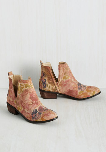 Romantic Amble Leather Bootie in Sunlit Roses