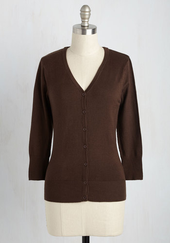 Charter School Cardigan in Brown - Brown, Solid, Buttons, Work, Scholastic/Collegiate, Button Down, Minimal, V Neck, 3/4 Sleeve, Variation, Pinup, Winter, Basic, Best Seller, Fall, Folk Art, Brown, 3/4 Sleeve, Mid-length, Knit, Good, 4th of July Sale, Casual, As You Wish Sale, Boho, Top Rated