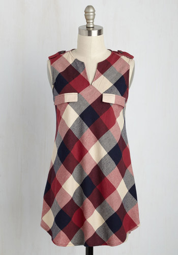 Rooftop Harvest Tunic in Red - Red, Blue, White, Plaid, Casual, Sleeveless, Rustic, Cotton, Epaulets, Fall, 90s, Red, Sleeveless, Long, Work