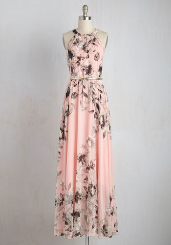 Fete of Florists Dress by Eliza J - Woven, Long, Pink, Floral, Belted, Maxi, Sleeveless, Better, Pastel, Grey, Prom, Special Occasion, Print, Valentine's, Wedding Guest, Sundress, Homecoming