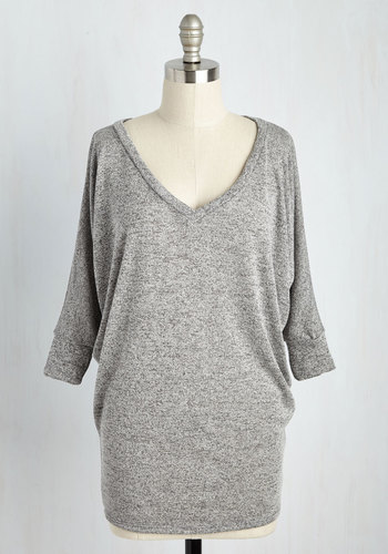 Cozy Cabin Weekend Tunic - Grey, 3/4 Sleeve, Knit, Grey, Solid, Casual, 3/4 Sleeve, V Neck, Long, Lounge, Minimal, Fall, Winter, Better