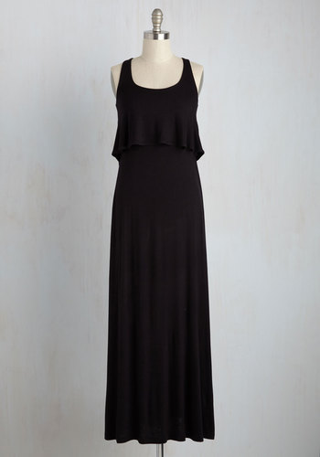 Go with the Flowy Dress - Jersey, Knit, Long, Black, Solid, Cutout, Ruffles, Casual, Maxi, Good, Scoop, Tiered, Tank top (2 thick straps)