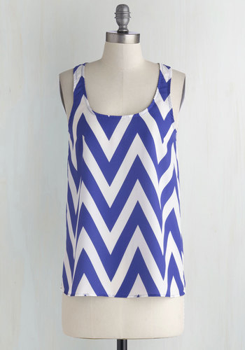 Chevron Point Top - Mid-length, Sheer, Woven, Blue, White, Chevron, Tank top (2 thick straps), Blue, Sleeveless, Work