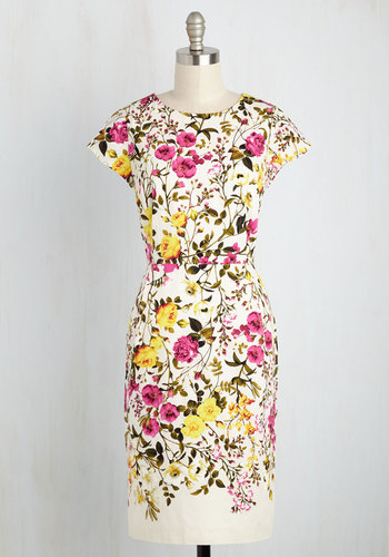 To Bloom It May Concern Dress - Multi, White, Floral, Print, Daytime Party, Graduation, Sheath, Short Sleeves, Spring, Best, Crew, Mid-length, Cotton, Woven, Prom, Work, Summer, White