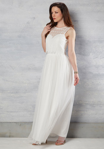 Make Some Poise Maxi Dress in Ivory - Solid, Buttons, Lace, Empire, Maxi, Woven, Exceptional, Exclusives, Scoop, Lace, Long, Graduation, Prom, White, Spring, Summer, Winter, Bride, Store 1