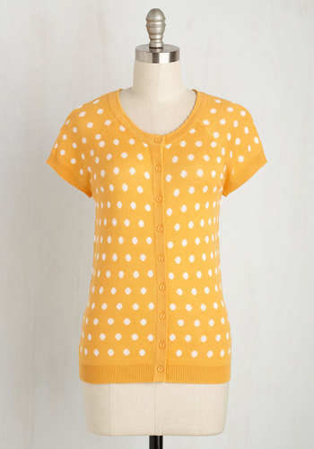 Just Thought Id Author Cardigan in Saffron Dots $44.99 AT vintagedancer.com