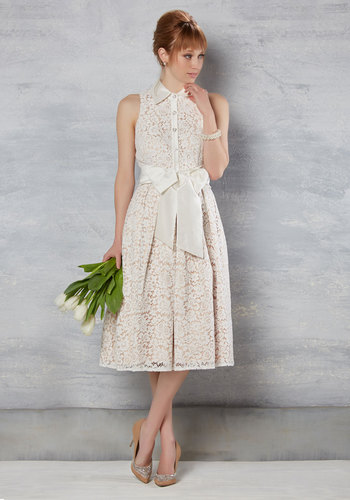 Splendid Celebrations Lace Dress in Ivory by Eliza J - White, Tan / Cream, Solid, Pockets, A-line, Shirt Dress, Sleeveless, Woven, Best, Long, Lace, Daytime Party, Fit & Flare, Vintage Inspired, Mid-Century, Spring, Summer, Collared, Lace