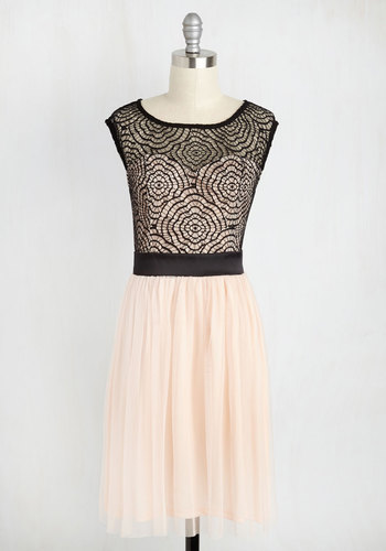 Starlet's Web Dress in Peach - Black, Lace, Party, A-line, Scoop, Sheer, Cap Sleeves, Mid-length, Special Occasion, Pink, Prom, Valentine's, Homecoming, Pastel, Fit & Flare, Best Seller, Best Seller