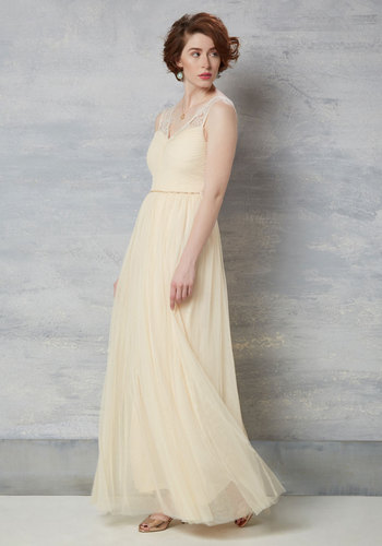 Fete of the Union Maxi Dress in Ivory - Cream, Solid, Beads, A-line, Maxi, Sleeveless, Woven, Best, Sweetheart, Long, Prom, Lace, Lace, Bride