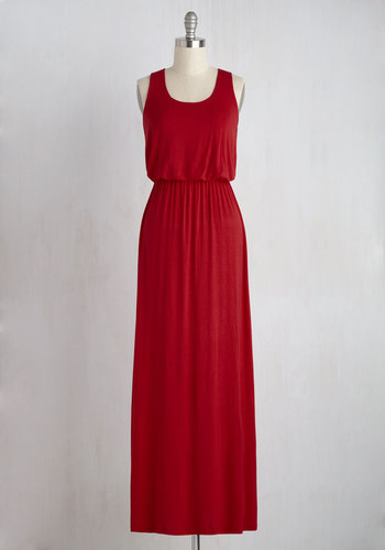 Breezy Night Stroll Dress in Red - Red, Solid, Casual, Maxi, Tank top (2 thick straps), Minimal, Scoop, Summer, Jersey, Basic, Beach/Resort, Sundress, Cover-up, Festival, Maternity, Boho, Full-Size Run, Long, Top Rated, Colorsplash, Racerback, Nautical, Americana