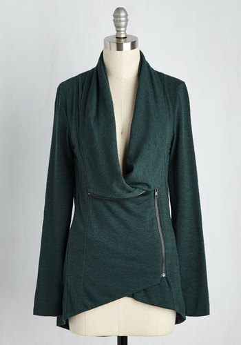 Airport Greeting Cardigan in Forest - Green, Solid, Casual, Long Sleeve, Variation, Exposed zipper, Basic, Better, Knit, Pockets, Fall, Winter, Green, Long Sleeve, Jersey, Best Seller, Gals, Mid-length, Gifts2015, Travel, Exclusives, Lounge