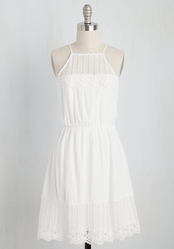 You Meringue? Dress - White, Solid, Casual, Sundress, Festival, A-line, Sleeveless, Spring, Woven, Better, Mid-length, Boho, Summer