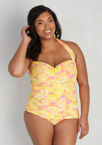 Fruity Suity One-Piece Swimsuit in Citrus - 16-26 $89.99 AT vintagedancer.com
