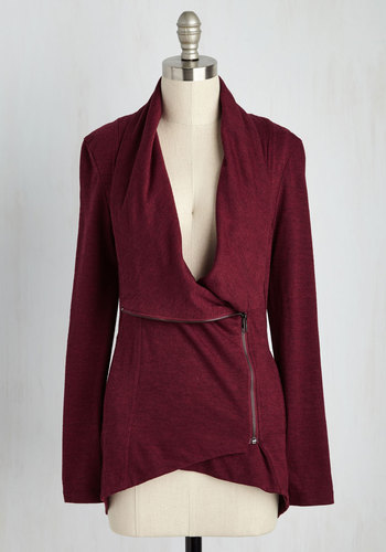 Airport Greeting Cardigan in Burgundy - Solid, Casual, Long Sleeve, Variation, Exposed zipper, Basic, Red, Better, Knit, Folk Art, Winter, Red, Long Sleeve, Jersey, Best Seller, Mid-length, Gifts2015, Travel, Cozy2015, Exclusives, Lounge