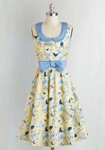 All the World's a Stage Dress in Birdcage - Peter Pan Collar, Collared, Cotton, Yellow, Blue, Print with Animals, Bows, Daytime Party, A-line, Sleeveless, Fairytale, Spring, Critters, Show On Featured Sale, Bird, Woodland Creature, Long, Fit & Flare