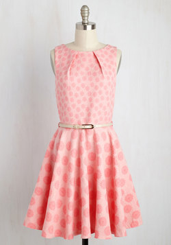 Luck Be a Lady Dress in Pink Jacquard