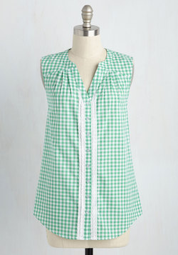 Glad-Zooks! Sleeveless Top in Green Gingham
