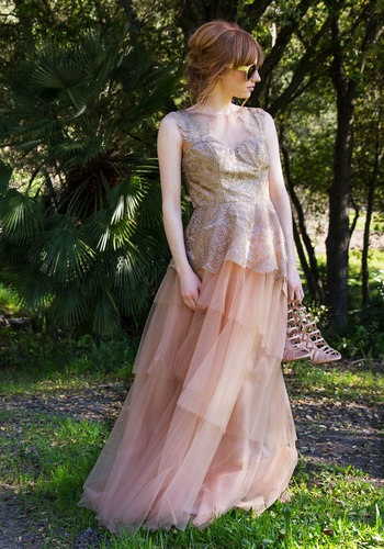 Awakening of Elegance Maxi Dress - Solid, Lace, Special Occasion, A-line, Sleeveless, Woven, Exceptional, Scoop, Long, Lace, Tulle, Pink, Blush, Prom, Homecoming, Bride
