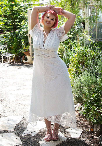 Flowing to the Chapel Dress in White $175.00 AT vintagedancer.com