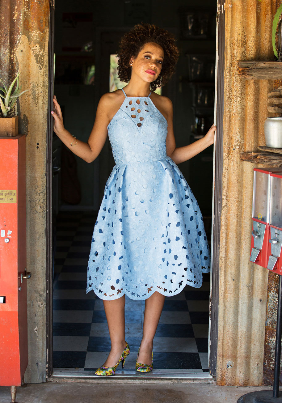 An eyelet 39 s life for me dress mod retro vintage dresses for Blue dress for a wedding guest